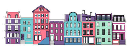 A set of old high-rise buildings. Old city. Flat vector illustration. Illustration