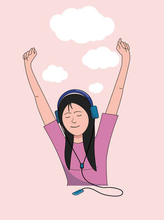 Girl closing her eyes and raising her hands listens to music on headphones.Vector illustration. Illustration