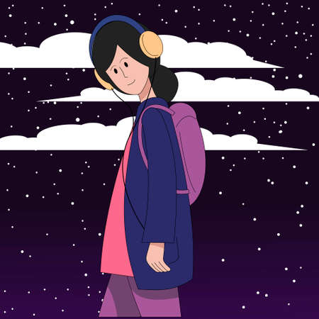A girl in headphones listens to music walking against the backdrop of the night starry sky.