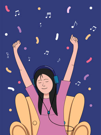 A girl listening to music sits in a chair. Flat vector illustration.
