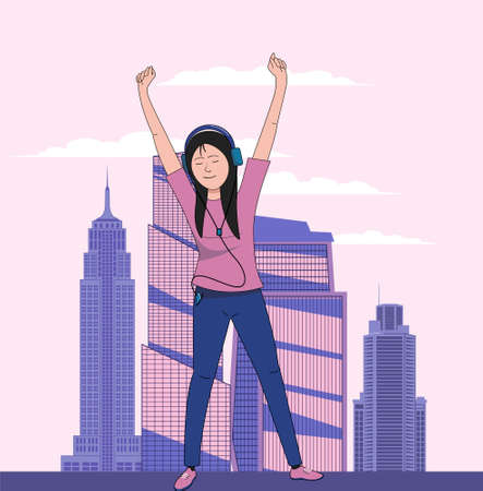 Girl listening to music on the background of skyscrapers. Flat vector illustration.