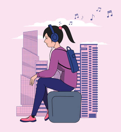 A girl with headphones sits on a bench against the backdrop of a big city and listens to music. Vector illustration.
