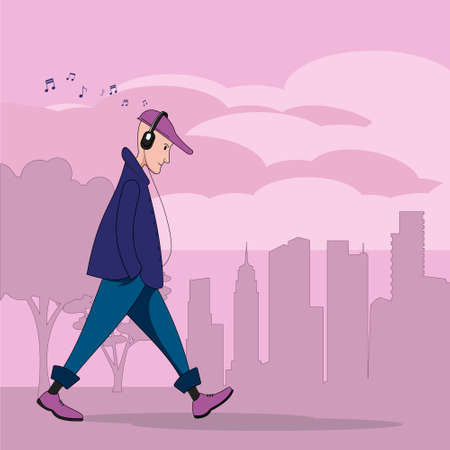 A young guy on the go listens to music with headphones. A silhouette of a big city. Illustration