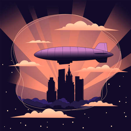 Airship in the sky above skyscrapers. City landscape against the setting sun. Vector illustration.