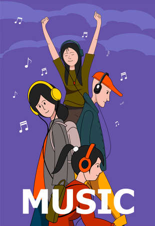 The poster depicting young people in headphones. Music, vector illustration.