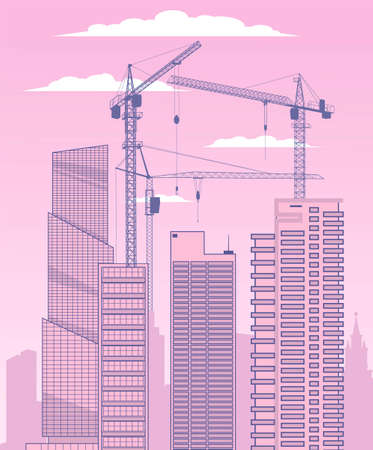 Building a big city. Construction cranes and skyscrapers on the background of the cloudy sky.Vector illustration. Illustration