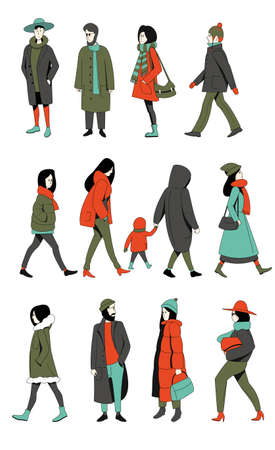 A set of people of different ages and gender in winter clothes. Flat vector illustration. Illustration
