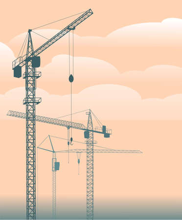 Construction cranes against the background of clouds and sky. Vector illustration.