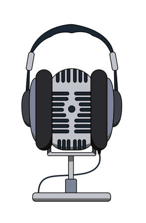 Studio microphone and headphones isolated on white background. Radio studio. On the air. Vector illustration.