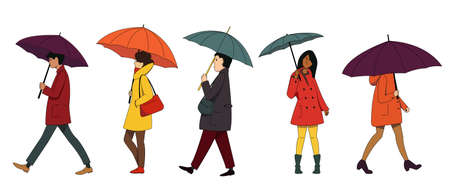 A set of people, men and women in autumn clothes with umbrellas. Autumn rainy weather.