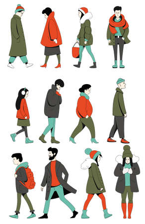 Set of different people, men and women, walking in winter clothes. Vector illustration.