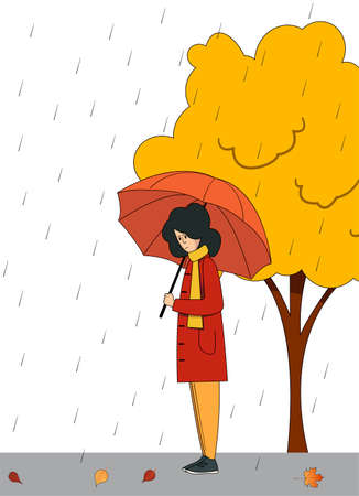 A girl with an umbrella stands in the rain on the background of an autumn tree. Vector illustration. Illustration