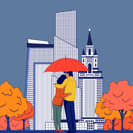 Couple in love stands hugging under an umbrella against the background of the city.Autumn illustration. Illustration