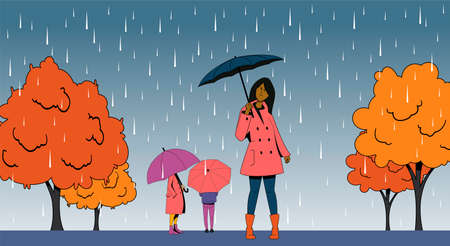 People with umbrellas walking in the park in the rain.Autumn vector illustration.