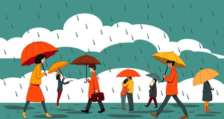 People with umbrellas walking in the rain on the background of clouds. Autumn illustration.