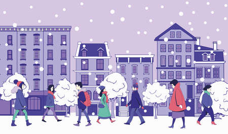 People in winter clothes are walking along the city street. Falling snow. Winter vector illustration.