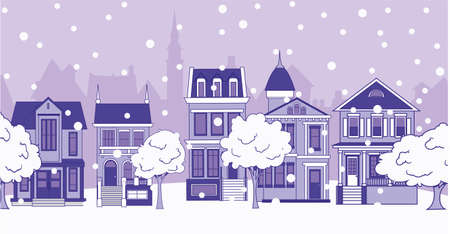 City houses on a snowy street. City and falling snow. Winter vector illustration.