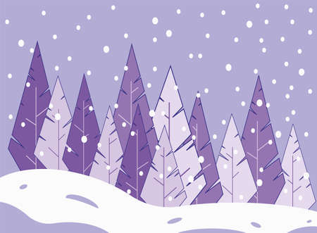 Winter coniferous forest. Fir-trees standing in a group. Snowfall. Winter vector illustration.