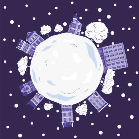Planet Earth with houses and trees on it in the snow against the background of space. Winter vector illustration.