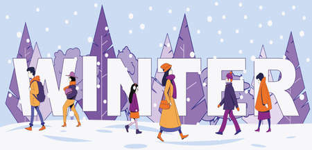 The inscription winter on the background of snow-covered trees and walking people in winter clothes. Winter vector illustration.