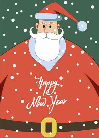 The inscription Happy New Year on the background of the big Santa Claus. New Year card.