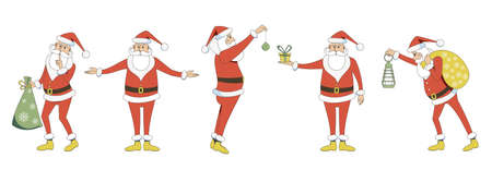 Set of Santa Clauses in different positions. Characters for creating Christmas illustrations.