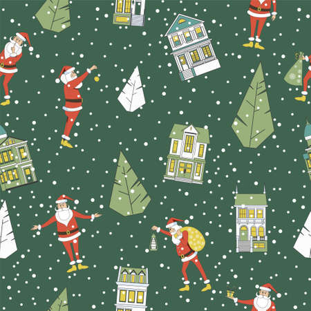 Seamless Christmas background. Santa Clauses, Christmas trees and houses. Winter illustration.