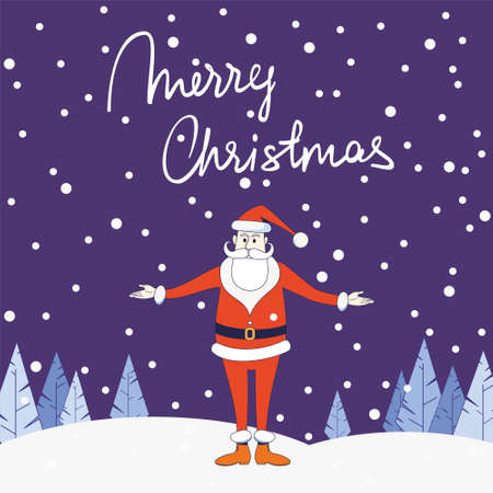 Congratulatory Santa Claus stands against the background of a winter landscape. Inscription Merry Christmas. Illustration