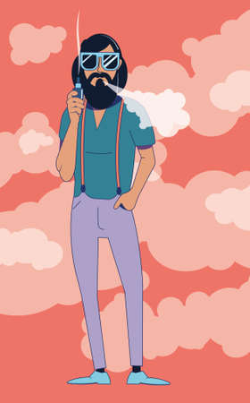 A young hipster man in sunglasses smokes a vaping device against a background of puffs of smoke. Illustration