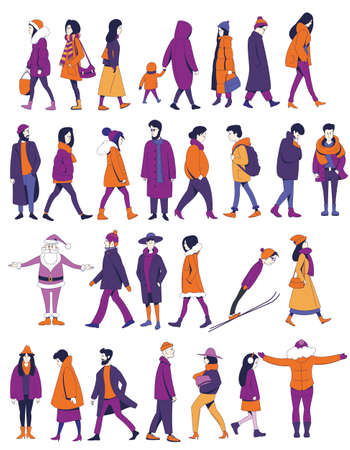 Set of New Year characters. Men and women in winter clothes walk and stand. Santa Claus, skier.