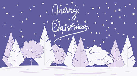 Christmas card. Winter trees under the falling snow. Merry christmas lettering. Illustration