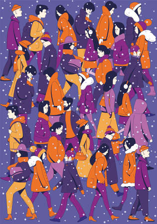 Background of walking people in winter clothes on the street. Falling snow. Illustration