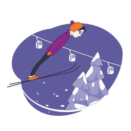 A man on skis performs a jump. Alpine skiing. Ski resort. Illustration