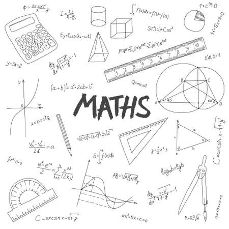 Abstract mathematical background. Formulas and measuring instruments drawn in doodle style on a white background. Illusztráció