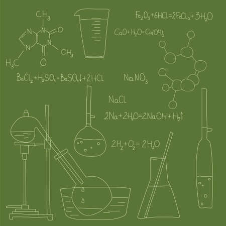 Chemical equipment, flasks and retorts, chemical formulas drawn in chalk on a school board in doodle style.