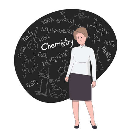 Woman chemistry teacher stands against the background of the school board with chemical formulas drawn in doodle style.