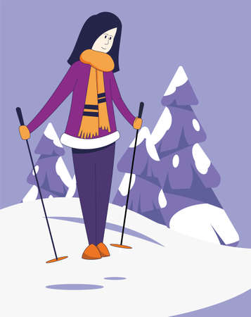 Girl standing on skis on the snow. Ski resort. Winter sports.