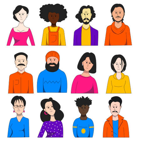 Group of diverse people, men and women.Vector flat illustration.