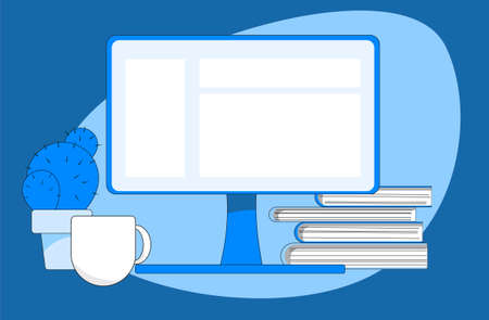 Workplace illustration, monitor, books, coffee cup.
