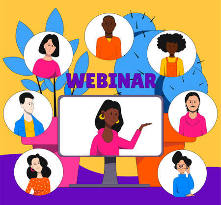 Illustration symbolizing online webinar. People's faces and monitor. Online training.