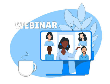 Online conference illustration. Group online communication. Webinar.