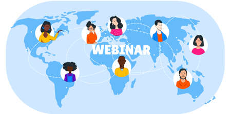 Illustration of an international webinar, people icons on the background of the world map. Illusztráció