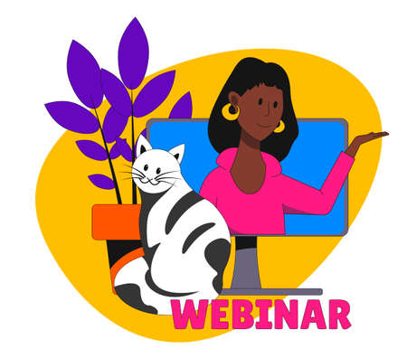 African American girl on the computer screen, sitting cat and houseplant. Home webinar.