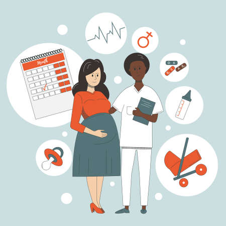 European pregnant woman and African American nurse standing side by side surrounded by symbols of motherhood. Pregnancy monitoring.