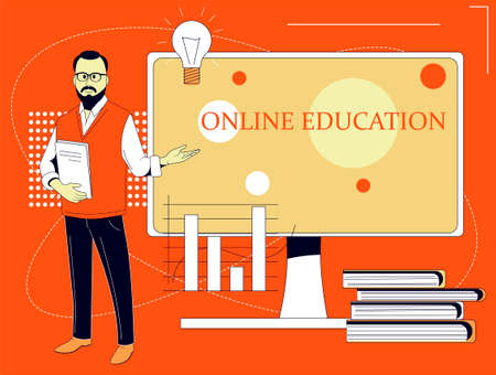 Video online conference.Distance learning. Modern banner with webinar.