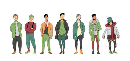A group of different men of different ages standing together. A set of characters in street clothes. Vektorgrafik
