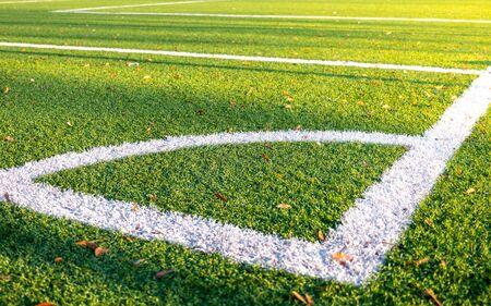 An empty corner of an amateur football field Stockfoto
