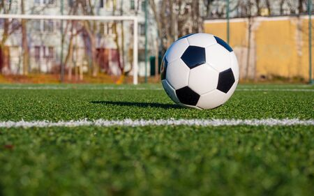Shot from the ground. The black and white ball is lying on the green football field in front of the goal.