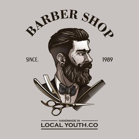 vintage barbershop logo Standard-Bild - 105583252