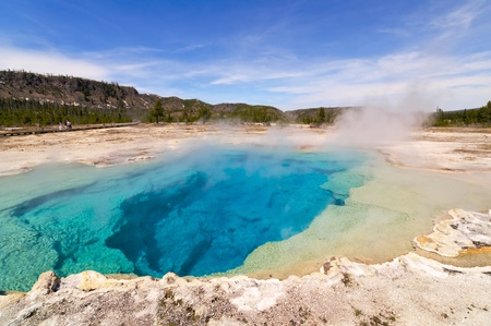 Sapphire Pool at Biscuit Basin in Yellowstone National Park, Wyoming. Stock Photo